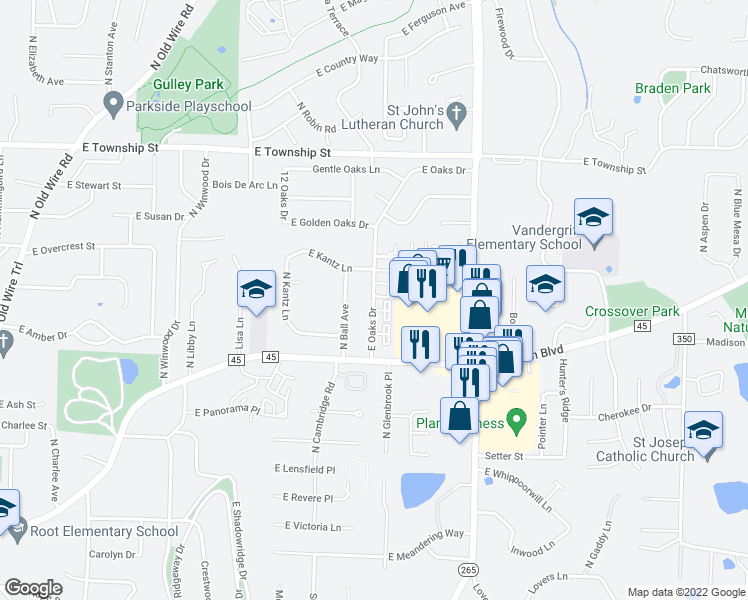 map of restaurants, bars, coffee shops, grocery stores, and more near 2124 East Oaks Drive in Fayetteville