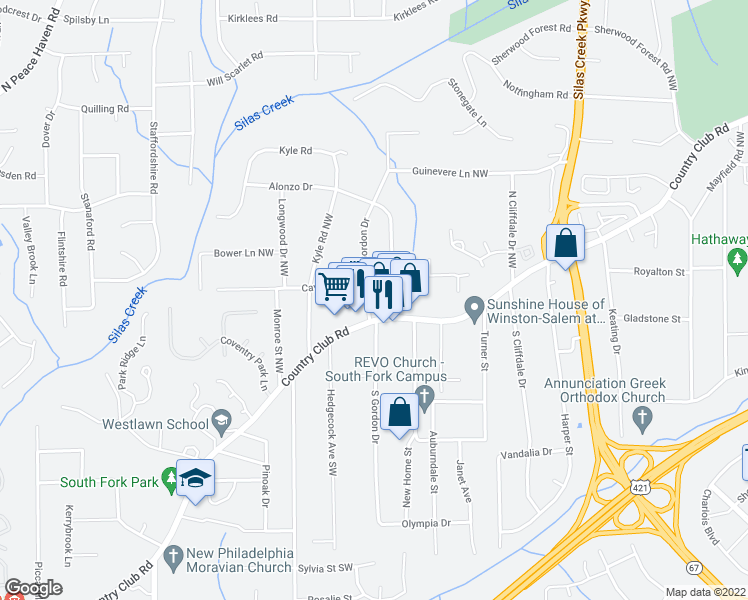 map of restaurants, bars, coffee shops, grocery stores, and more near 115 North Gordon Drive in Winston-Salem