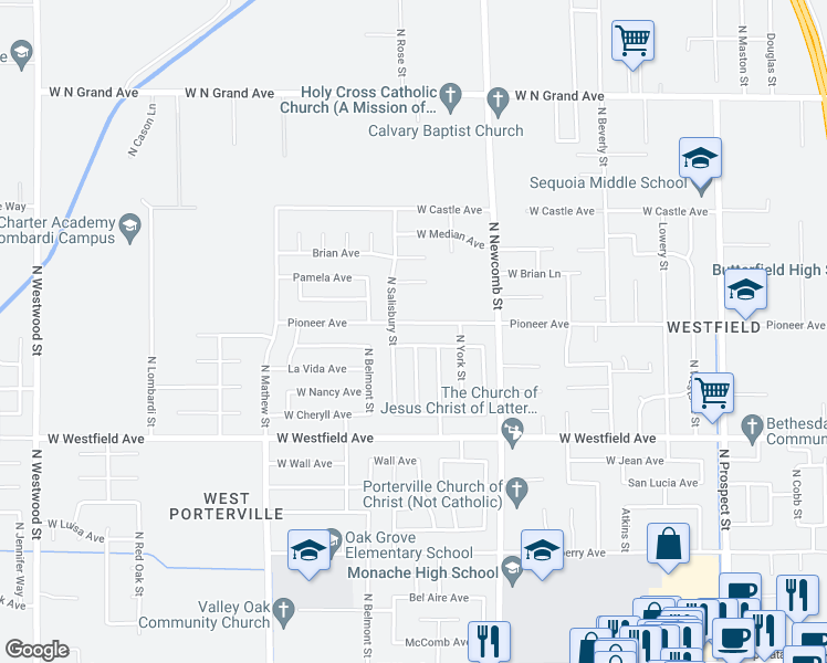 map of restaurants, bars, coffee shops, grocery stores, and more near 1735 Pioneer Avenue in Porterville