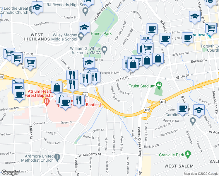 map of restaurants, bars, coffee shops, grocery stores, and more near 1019 West End Boulevard in Winston-Salem