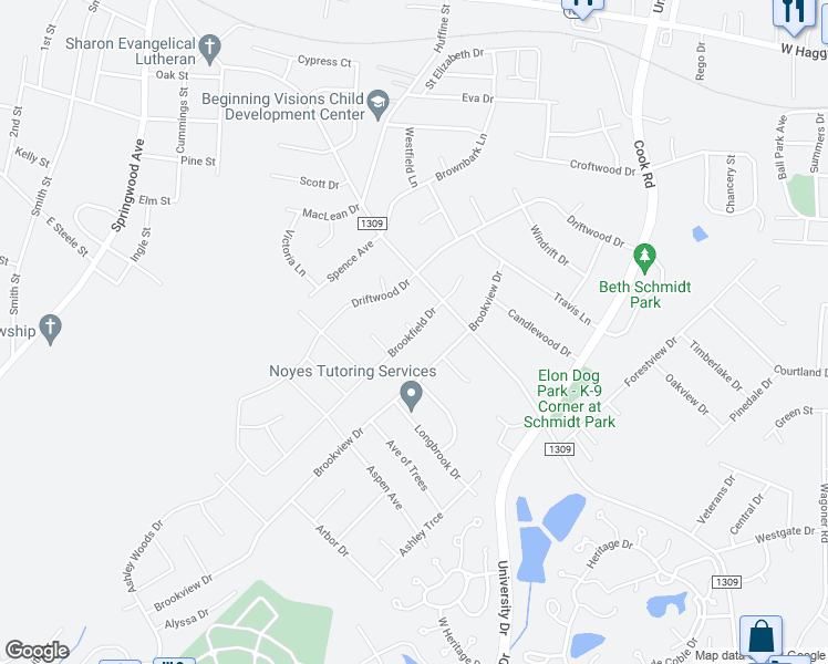 map of restaurants, bars, coffee shops, grocery stores, and more near Brookfield Drive in Gibsonville