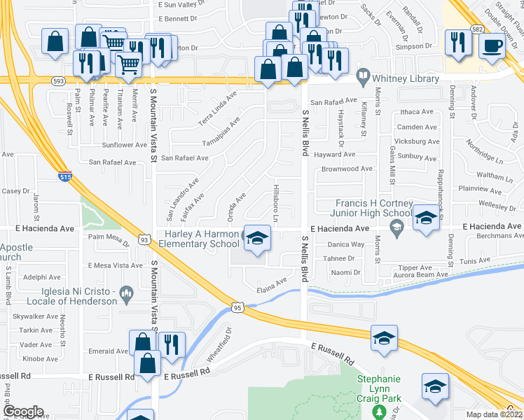 map of restaurants, bars, coffee shops, grocery stores, and more near 4850 Novato Way in Las Vegas