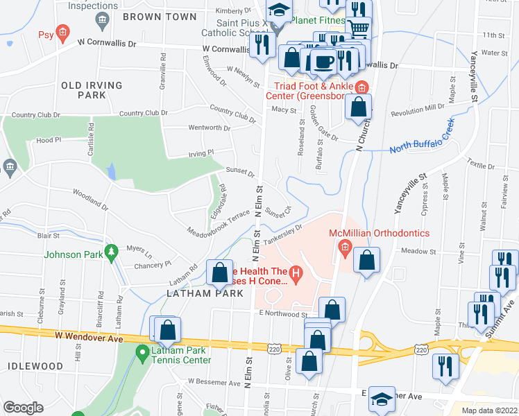 map of restaurants, bars, coffee shops, grocery stores, and more near 104 Sunset Circle in Greensboro
