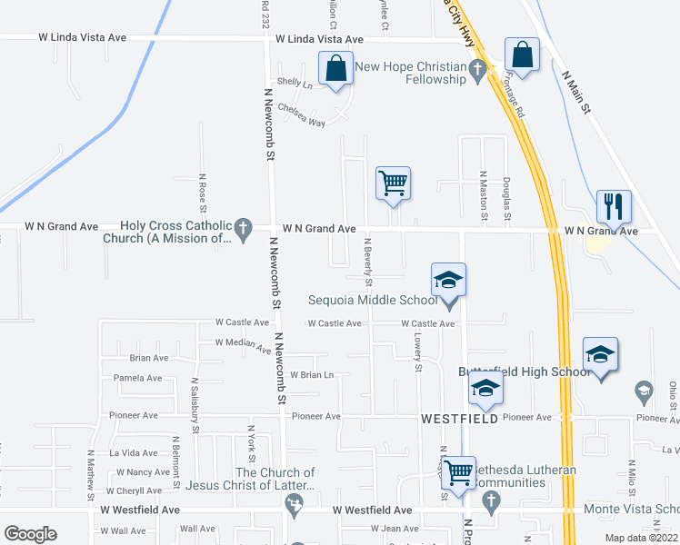 map of restaurants, bars, coffee shops, grocery stores, and more near 1455 West Reid Avenue in Porterville