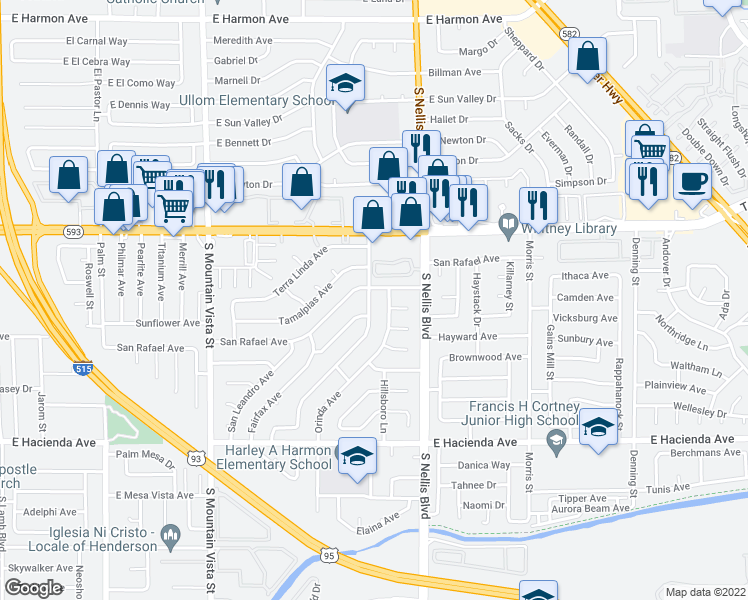 map of restaurants, bars, coffee shops, grocery stores, and more near 5024 San Anselmo Street in Las Vegas