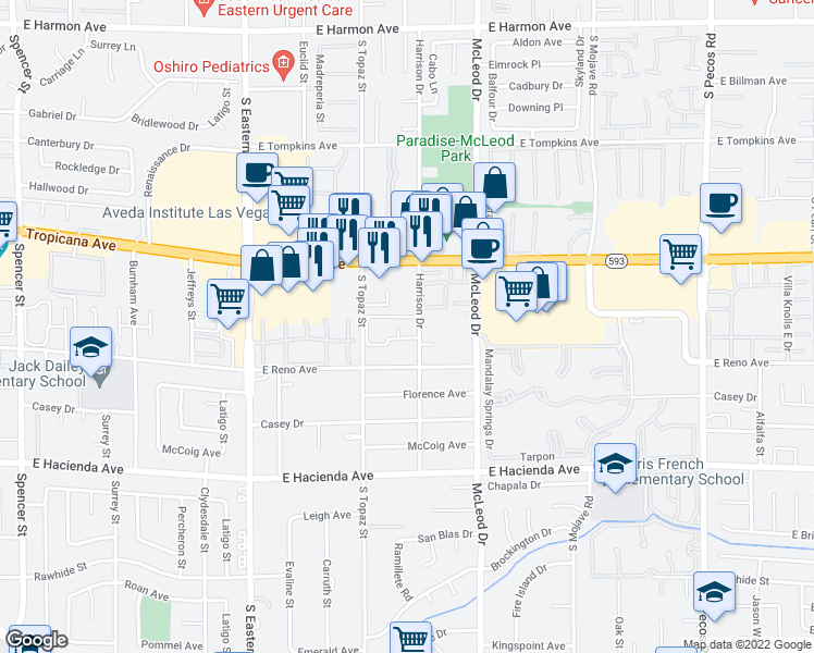 map of restaurants, bars, coffee shops, grocery stores, and more near 5045 Harrison Drive in Las Vegas