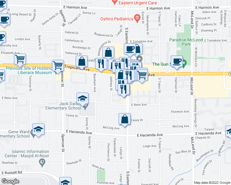 map of restaurants, bars, coffee shops, grocery stores, and more near 5030 Jeffreys Street in Las Vegas