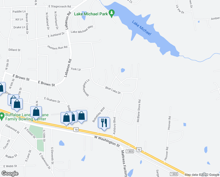 map of restaurants, bars, coffee shops, grocery stores, and more near Blue Lake Drive in Mebane