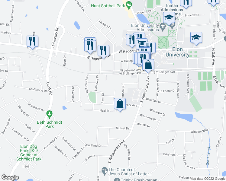 map of restaurants, bars, coffee shops, grocery stores, and more near 616 Trollinger Avenue in Elon