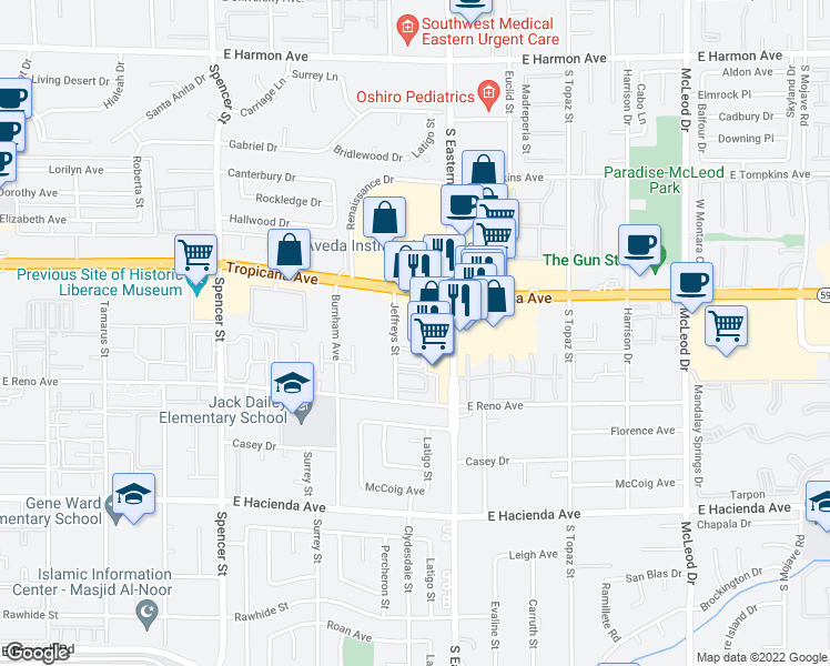 map of restaurants, bars, coffee shops, grocery stores, and more near 4988 Jeffreys Street in Las Vegas