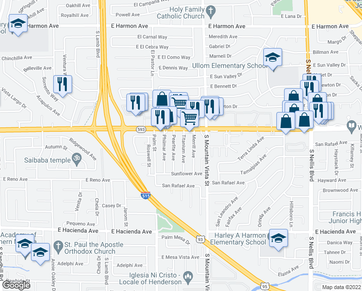 map of restaurants, bars, coffee shops, grocery stores, and more near 4967 Titanium Ave in Las Vegas