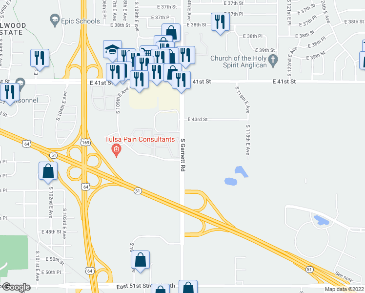 map of restaurants, bars, coffee shops, grocery stores, and more near 4414 South Garnett Road in Tulsa