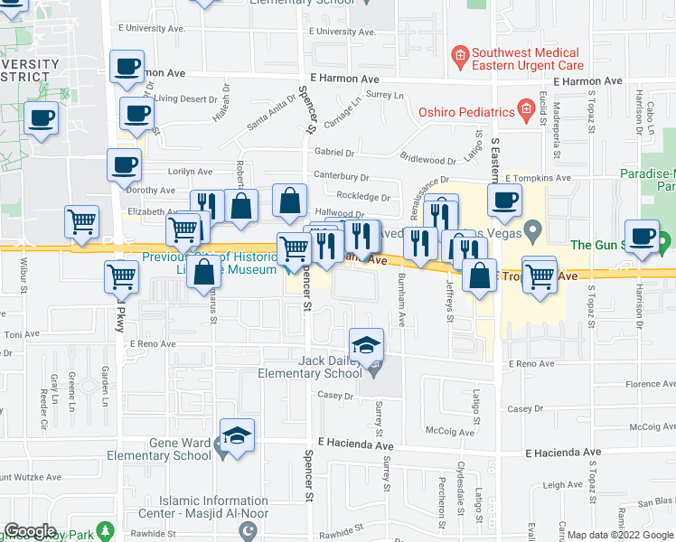 map of restaurants, bars, coffee shops, grocery stores, and more near 2001 East Tropicana Avenue in Las Vegas