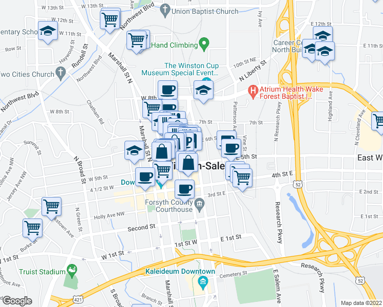 map of restaurants, bars, coffee shops, grocery stores, and more near 521 North Liberty Street in Winston-Salem