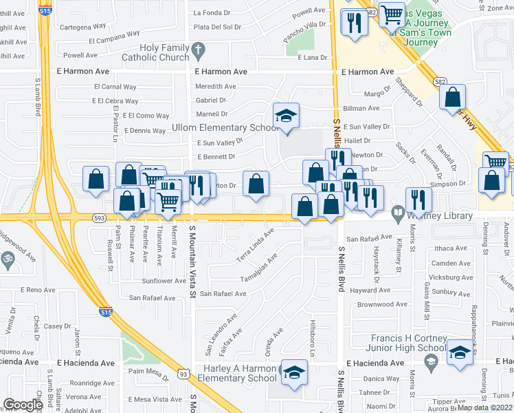 map of restaurants, bars, coffee shops, grocery stores, and more near 4800 East Tropicana Avenue in Las Vegas