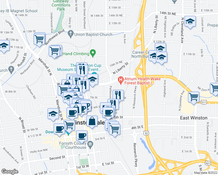 map of restaurants, bars, coffee shops, grocery stores, and more near 757 North Chestnut Street in Winston-Salem