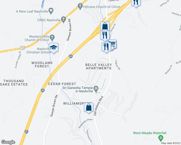 map of restaurants, bars, coffee shops, grocery stores, and more near 100 Belle Valley Drive in Nashville
