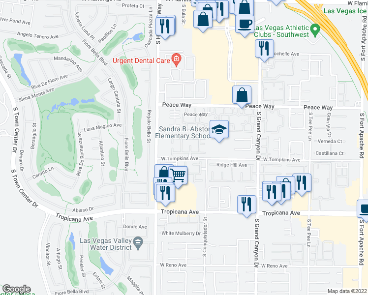 map of restaurants, bars, coffee shops, grocery stores, and more near 4654 San Vito Street in Las Vegas