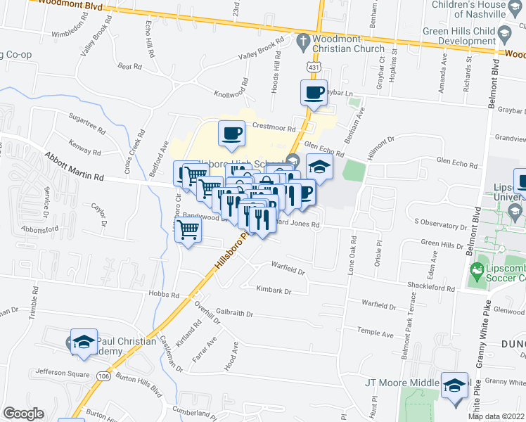 map of restaurants, bars, coffee shops, grocery stores, and more near 3910 Hillsboro Pike in Nashville