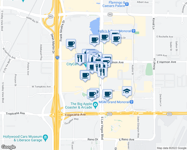map of restaurants, bars, coffee shops, grocery stores, and more near 3750 South Las Vegas Boulevard in Las Vegas