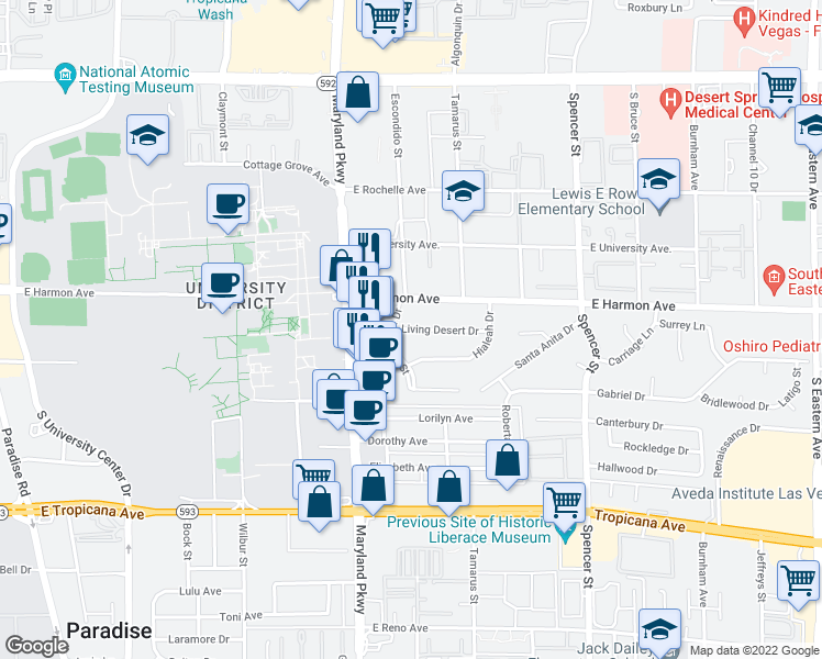 map of restaurants, bars, coffee shops, grocery stores, and more near 1363 Living Desert Drive in Las Vegas