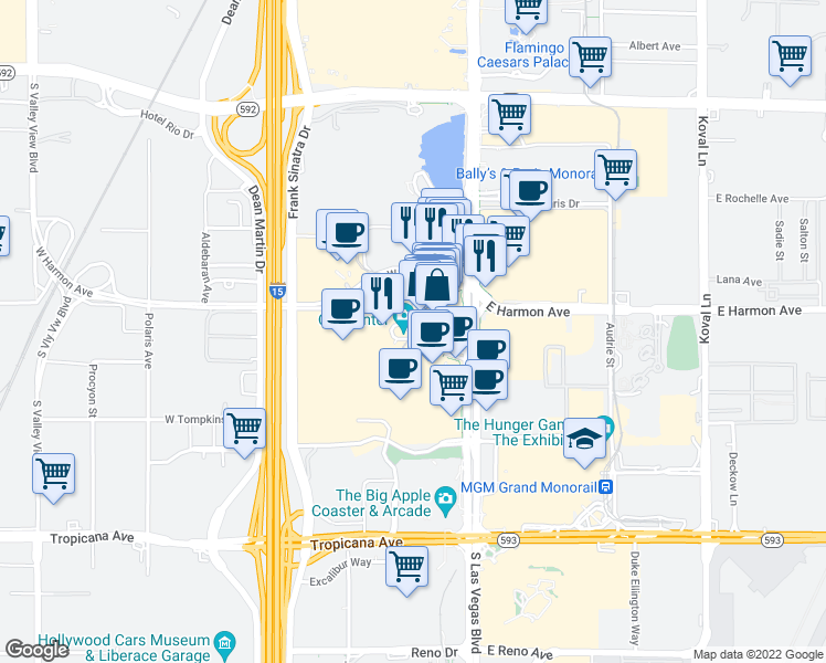 map of restaurants, bars, coffee shops, grocery stores, and more near 3726 South Las Vegas Boulevard in Las Vegas