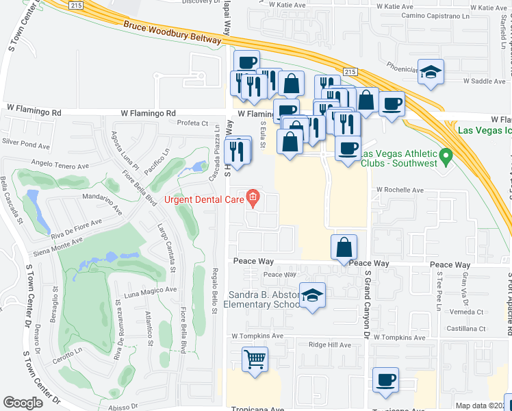 map of restaurants, bars, coffee shops, grocery stores, and more near 4350 South Hualapai Way in Las Vegas