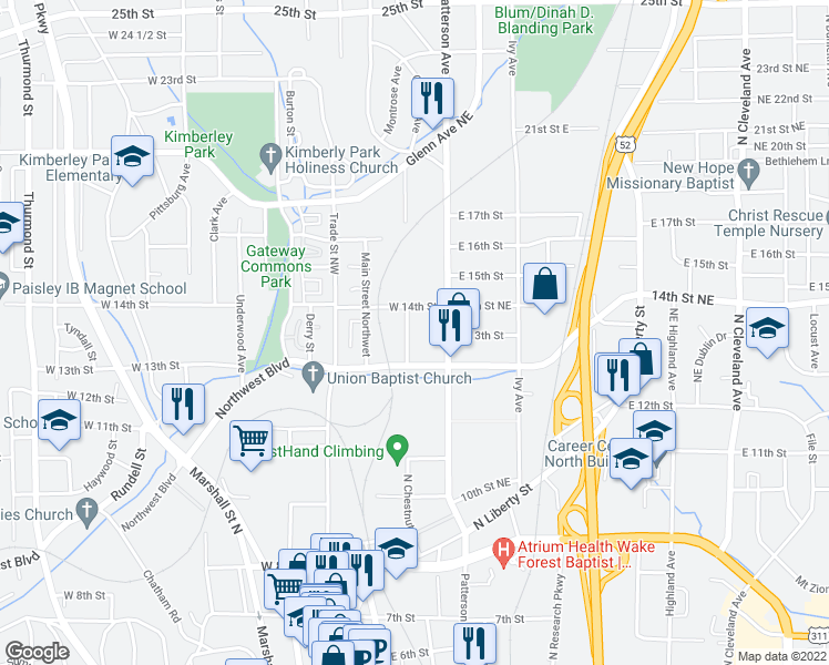 map of restaurants, bars, coffee shops, grocery stores, and more near 1398 Chestnut Plains Court in Winston-Salem