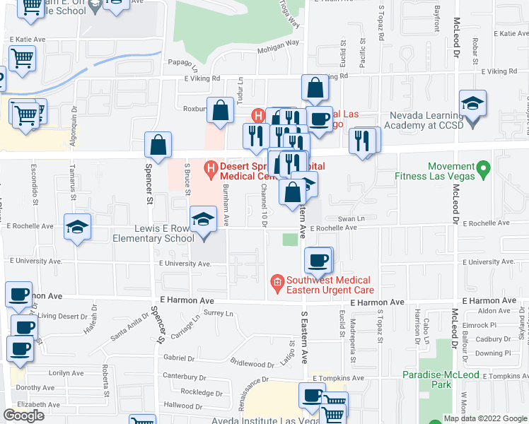 map of restaurants, bars, coffee shops, grocery stores, and more near 13 East Nevso Drive in Las Vegas
