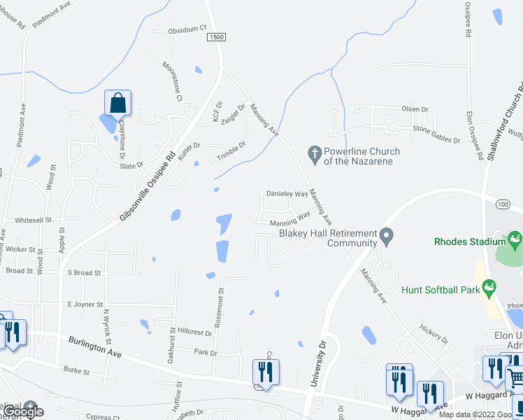 map of restaurants, bars, coffee shops, grocery stores, and more near James Toney Drive in Elon