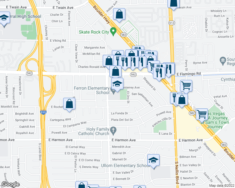 map of restaurants, bars, coffee shops, grocery stores, and more near 4200 Mountain Vista Street in Las Vegas