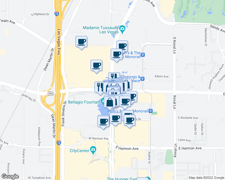map of restaurants, bars, coffee shops, grocery stores, and more near in Clark County