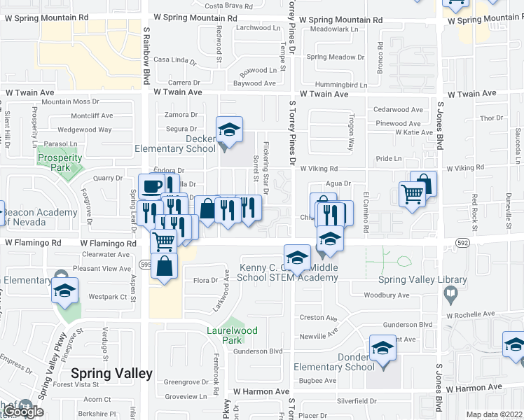 map of restaurants, bars, coffee shops, grocery stores, and more near 6570 West Flamingo Road in Las Vegas