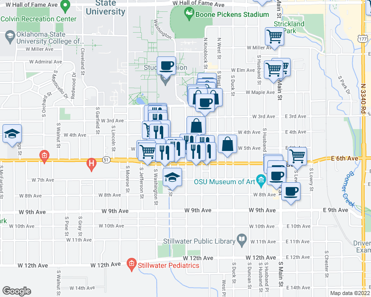 map of restaurants, bars, coffee shops, grocery stores, and more near S Hester St & W 5th Ave in Stillwater