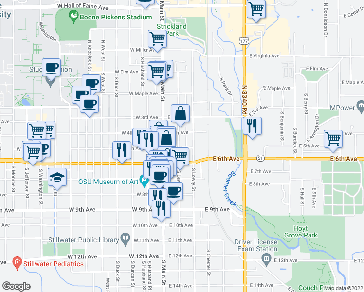 map of restaurants, bars, coffee shops, grocery stores, and more near 423 S Lewis St in Stillwater