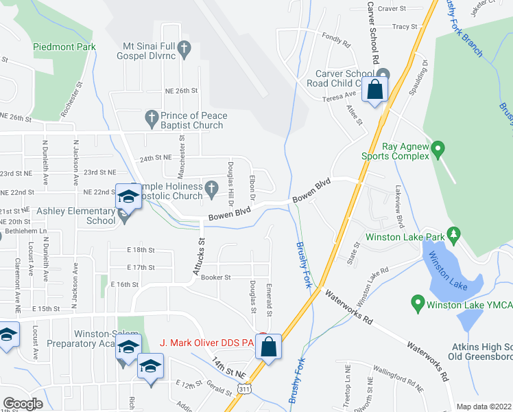 map of restaurants, bars, coffee shops, grocery stores, and more near Bowen Boulevard in Winston-Salem