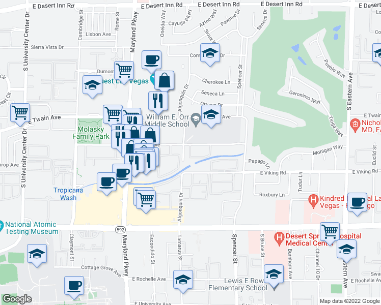 map of restaurants, bars, coffee shops, grocery stores, and more near 1601 East Katie Avenue in Las Vegas