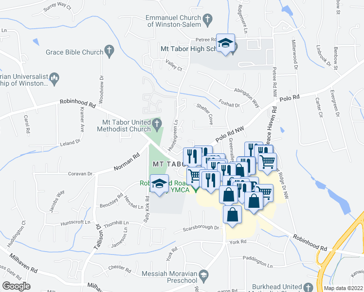 map of restaurants, bars, coffee shops, grocery stores, and more near 3535 Beacon Hill Drive Northwest in Winston-Salem