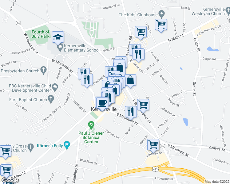 map of restaurants, bars, coffee shops, grocery stores, and more near 234 North Main Street in Kernersville