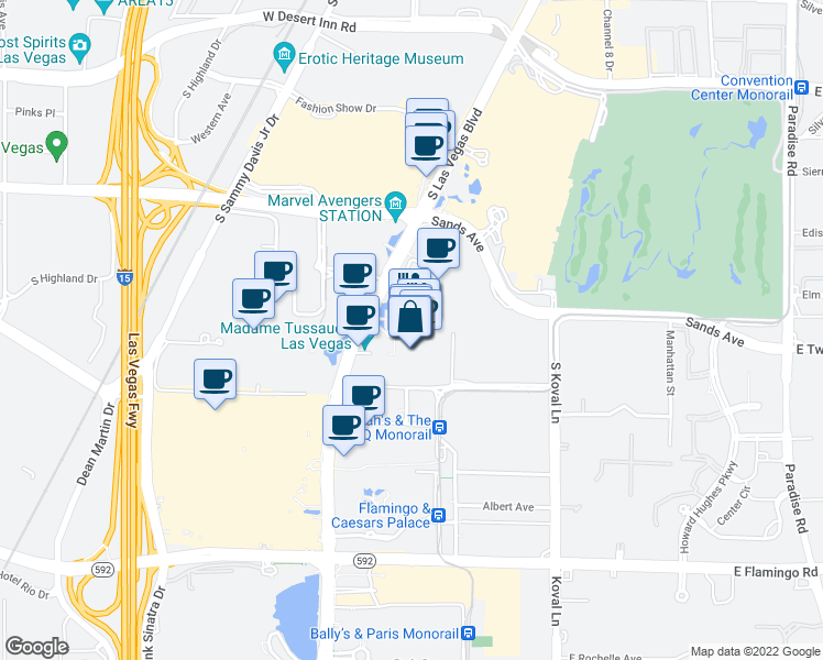 map of restaurants, bars, coffee shops, grocery stores, and more near 3377 South Las Vegas Boulevard in Las Vegas