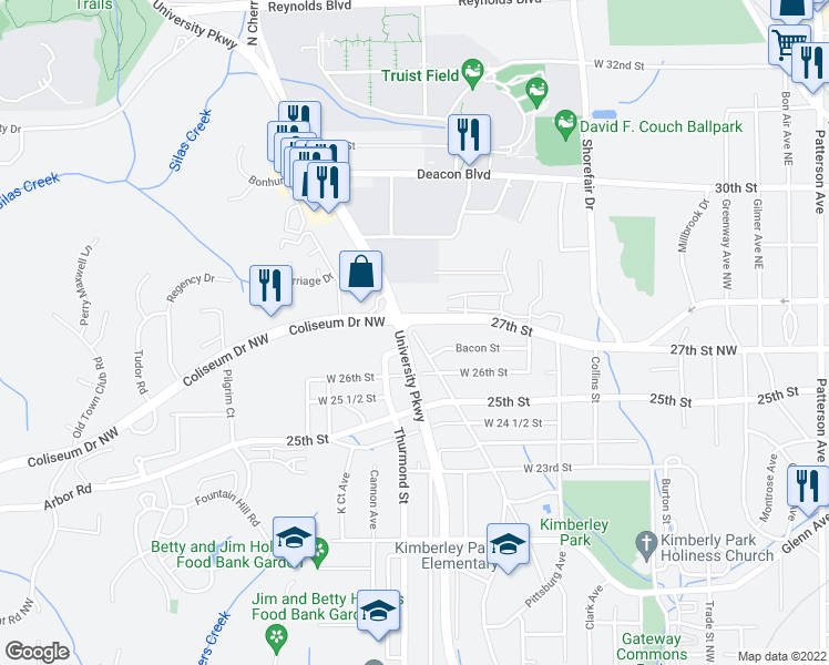 map of restaurants, bars, coffee shops, grocery stores, and more near 3508 North Cherry Street in Winston-Salem