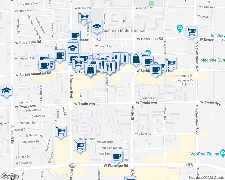 map of restaurants, bars, coffee shops, grocery stores, and more near 3650 South Stober Boulevard in Las Vegas