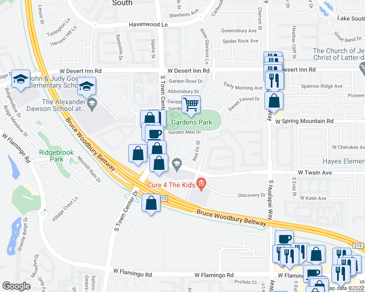 map of restaurants, bars, coffee shops, grocery stores, and more near 3574 Bryson Court in Las Vegas