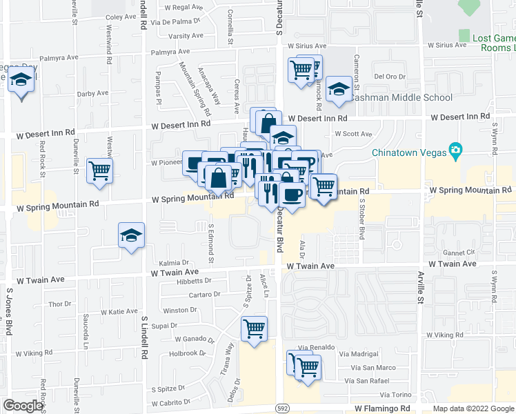 map of restaurants, bars, coffee shops, grocery stores, and more near 3625 South Decatur Boulevard in Las Vegas