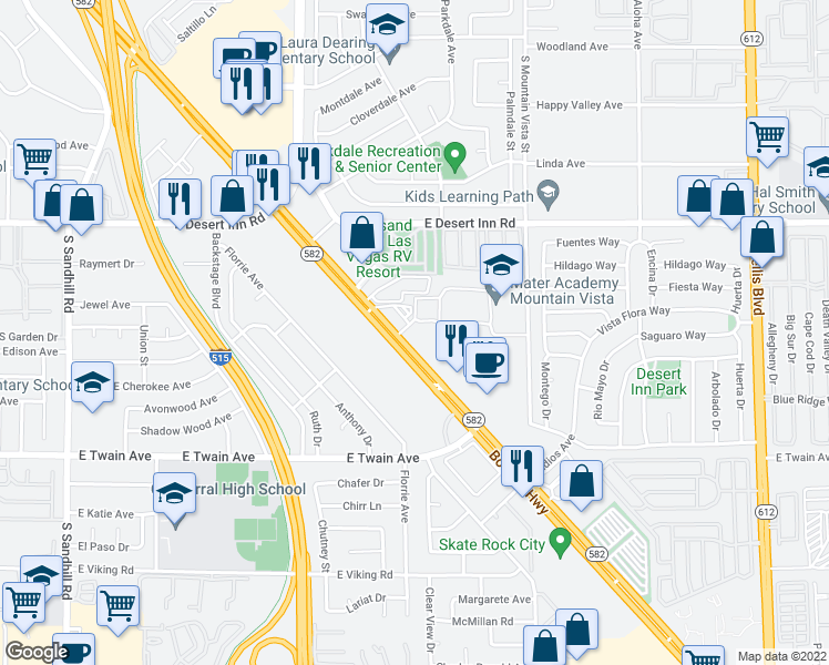 map of restaurants, bars, coffee shops, grocery stores, and more near 4375 Boulder Highway in Las Vegas