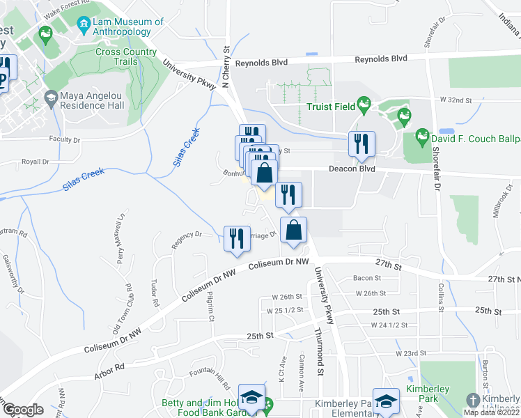 map of restaurants, bars, coffee shops, grocery stores, and more near 2890 Carriage Drive in Winston-Salem