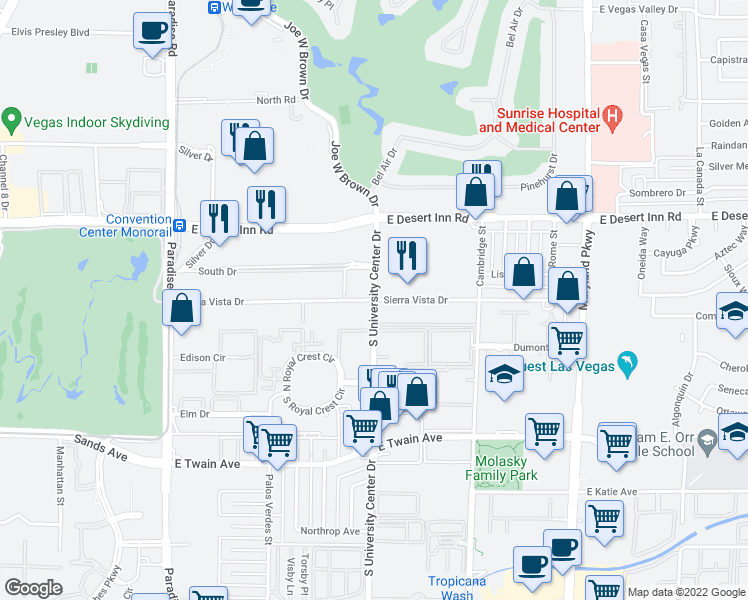 map of restaurants, bars, coffee shops, grocery stores, and more near Swenson St & Sierra Vista Dr in Paradise