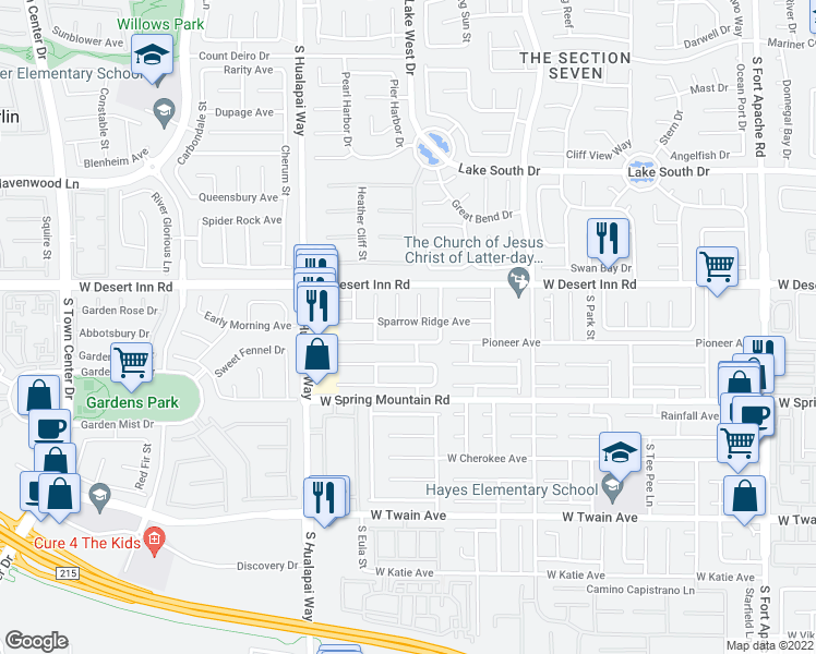 map of restaurants, bars, coffee shops, grocery stores, and more near 10021 Sparrow Ridge Avenue in Las Vegas