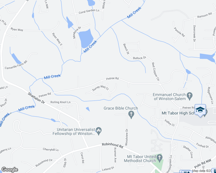 map of restaurants, bars, coffee shops, grocery stores, and more near 921 Brookmeade Drive in Winston-Salem