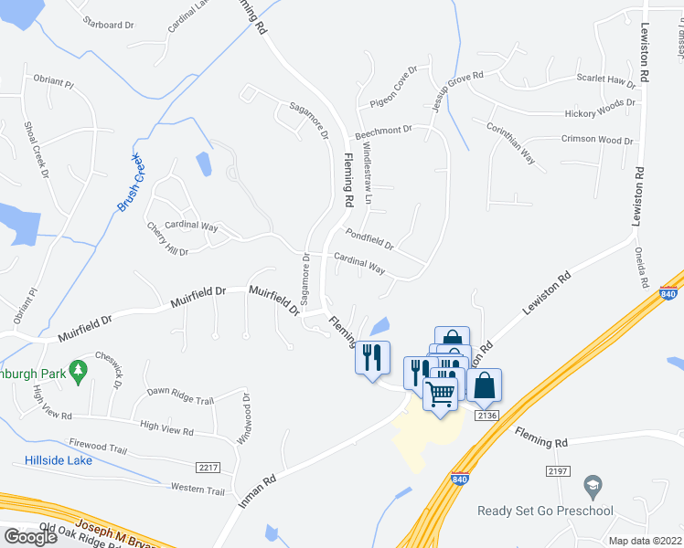 map of restaurants, bars, coffee shops, grocery stores, and more near 3805 Cardinal Court in Greensboro